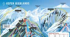 Pistenplan f�r Skigebiet Aspen Highlands, Colorado, USA