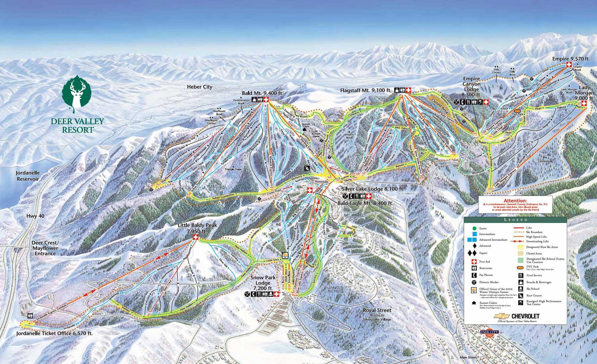 Pistenplan f�r Skigebiet Deer Valley, Utah, USA
